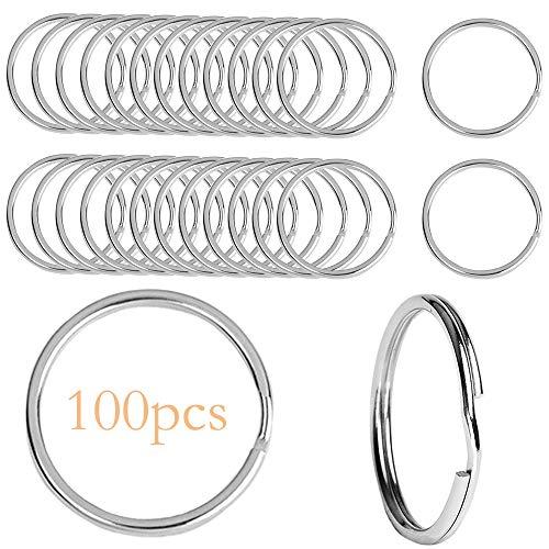 Tophope Key Rings 25 mm Stainless Steel Round Key Rings Metal Split Ring Key Ring DIY Handmade Jewellery Accessories Set of 100