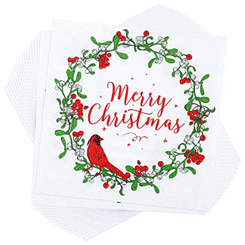 Aneco 100 Pack Christmas Lunch Napkins Party Supplies Disposable Paper Napkins Party Supplies with 3 Layers Fancy Cocktail Napkins, 5 by 5 Inches (Wreath and Bird)