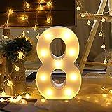 Guijiyi Números de Luz LED,Luces LED Iluminados Noche,Lámpara LED de Números Arábigos 0-9 Luminosas Decorativas para Fiesta de Cumpleaños,Boda y Hogar