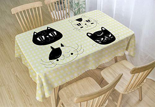 Chickwin Manteles Antimanchas Poliéster, Mantel para Mesa Rectangular de Cocina Mantel Antimanchas Transpirable,Restaurante Cocina (80x120cm,Gato)