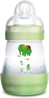 MAM Easy Start Anti-Colic 160 ml, Biberón anticólicos con base de ventilación, biberón MAM autoesterilizable con tetina MAM nº 1 de silicona extrasuave, 0+ meses, verde