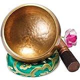Cuenco tibetano grande original - 13 cm, Juego de cuenco tibetano con mazo y cojín de sonido en caja de regalo de papel...