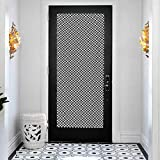 Decor Door Decals Self-Adhesive Door Mural, Pinwheel Two Toned Triangles Forming Squares Contemporary Co, DIY Art Home Decor Poster Decoration, W35.4 x L78.7 Inch