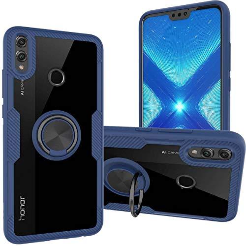 KUAWEI Hülle Honor 8X Cover Honor 8X Handyhülle Case Schale Transparente Premium Back Cover mit Ständer Funktion und Auto Halterung Funktion für Honor 8X 6.5 (Blau)