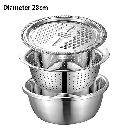 Kitchen Grater, Stainless Steel Cheese Grater With Drain Basin, 5-in-1 Manual Vegetables Chopper Kitchen Aid Tools For Vegetables Cheese Fruits (3PCS/Set)