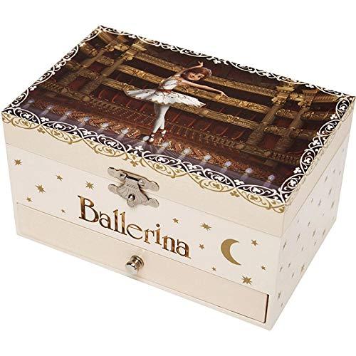Trousselier - Ballerina der Film - Musikschmuckdose - Spieluhr - Ideales Geschenk für junge Mädchen - Phosphoreszierend - Leuchtet im Dunkeln - Musik Schwanensee - Farbe elfenbein