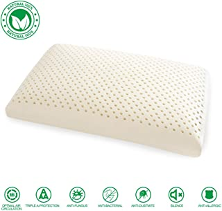 WENCHYA 100% Pure Natural Latex Contour Pillow with High-end Embroidered Pillow Pillowcase,100% Bamboo Fiber Pillowcase(Bread Pillow)