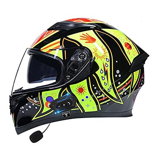 Casco de motocicleta con Bluetooth, modular con visera doble DOT/ECE aprobado para adultos, hombres y mujeres (color: C)