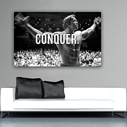 XWArtpic Conquer Hollywood Film Super Star Arnold Schwarzenegger Bodybuilding muskelkunst Leinwand Malerei Poster Wandbild Wohnkultur 80 * 120 cm