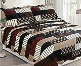 Sapphire Home 3 Piece Queen Size Bedspread Coverlet Quilt Bedding Set w/2 Pillow Shams, South Western Design Black Brown Burgundy, Queen XJ1100