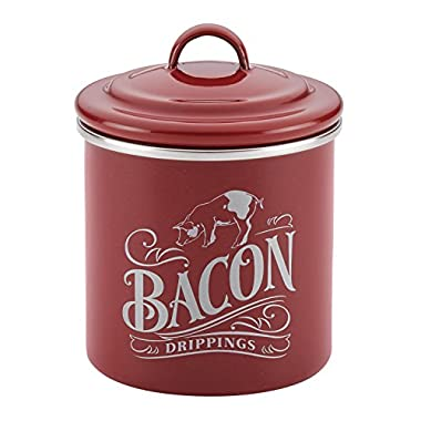 Ayesha Curry Enamel on Steel Bacon Grease Can, 4-Inch by 4-Inch, Sienna Red