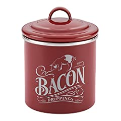 Made to last: Bacon grease can features durable, heavy gauge steel construction for long lasting performance Big stovetop storage: 4-inch diameter can provides ample storage volume for bacon grease Cool control: Bacon can features enamel lid and stur...