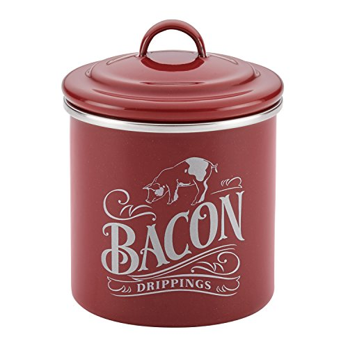 Ayesha Curry Enamel on Steel Bacon Grease Can / Bacon Grease Container - 4 Inch, Red