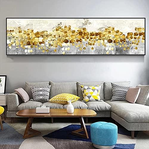 Arte abstracto moderno Dinero dorado Mar Playa Lienzo Pintura Arte de la pared Póster Impresiones Dormitorio Sala de estar Oficina de negocios Estudio Decoración para el hogar Mural