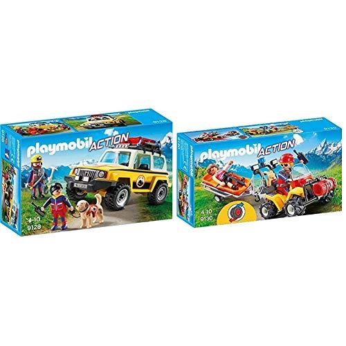Playmobil- Vehículo de Rescate de Montaña, única (9128) + Quad de Rescate de Montaña (9130)
