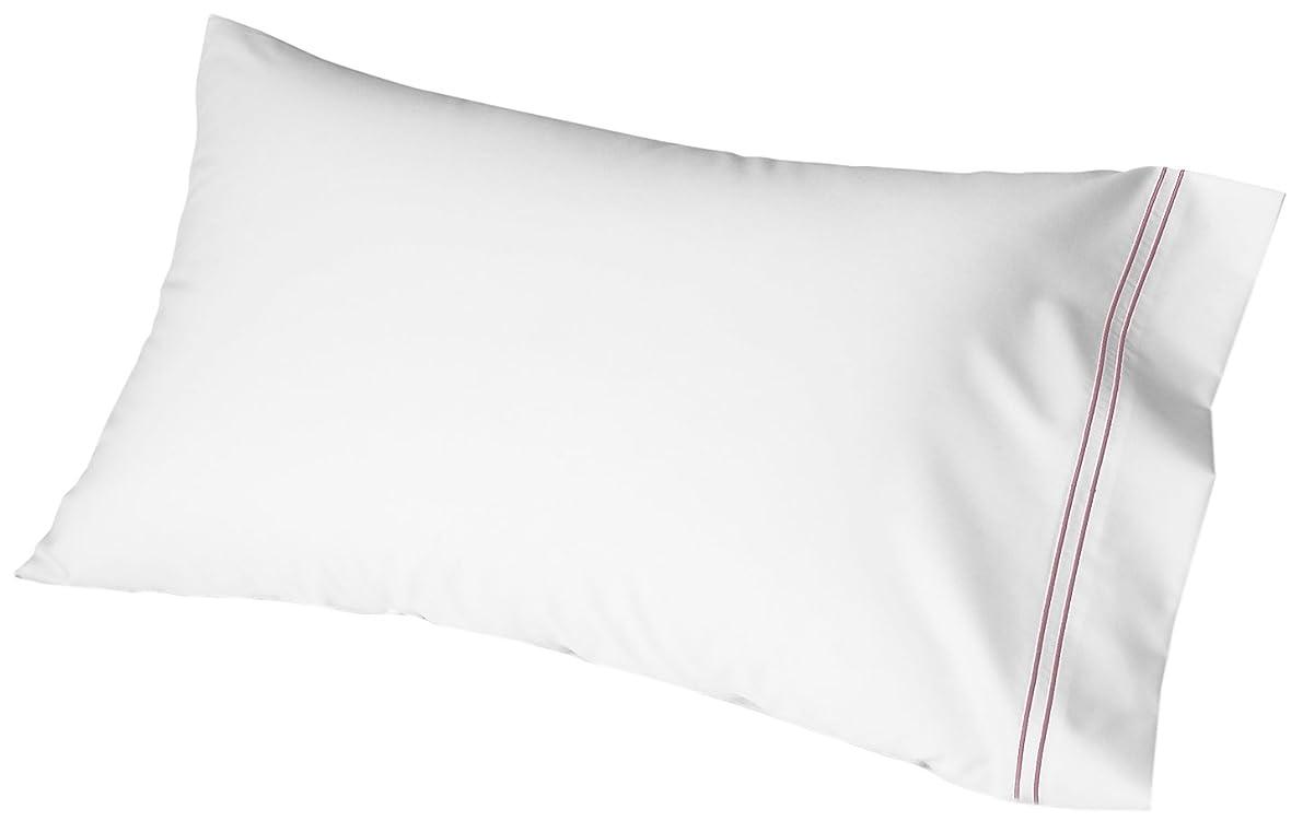 Cuddledown 400 Thread Count Sateen Pillowcase, King, White/Mauve