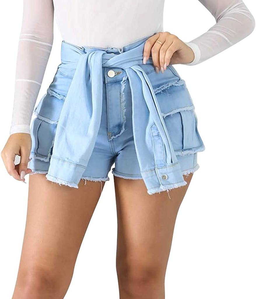 Forthery Women's Novelty Mid Rise Shorts Frayed Raw Hem Ripped Denim Jean Shorts with Sleeves