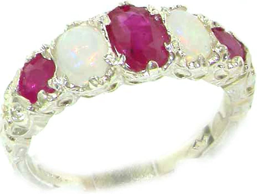 925 Sterling Silver Real Genuine Sale SALE% OFF Ruby Womens Ring Opal and Band Reservation
