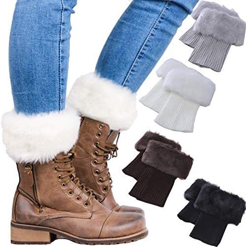 Women Winter Faux Fur trim Boot Cuffs Socks Crochet Knitting Short Leg Warmers 4 Pack product image