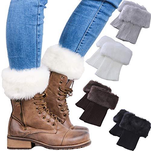 Women Winter Faux Fur trim Boot Cuffs Socks Crochet Knitting Short Leg Warmers 4 Pack