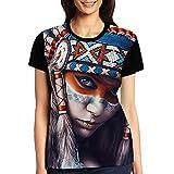 Abigails Home T-Shirt à Manches Courtes pour Femme,Native American Girl Tattoo Design,T-Shirts Sport Summer(M,Noir)