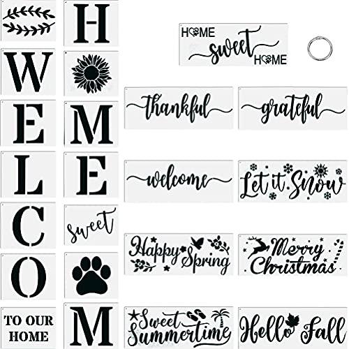 27 Plantillas de Bienvenida, Plantillas de Carteles de Bienvenida para Pintar Sobre Madera, Plantillas de Letras de Carteles de Palabras Reutilizables, para Puerta de Casa, Decoración al Aire