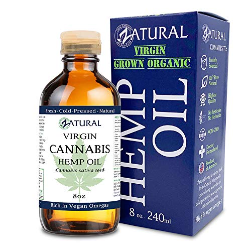 Hemp Oil (227,000mg - 8oz) Anti-Inflammatory_Pain Relief_100% Pure_Cold Pressed_High Vegan Omegas 3 & 6_No Fillers or Additives, Therapeutic Grade (8 Ounce)