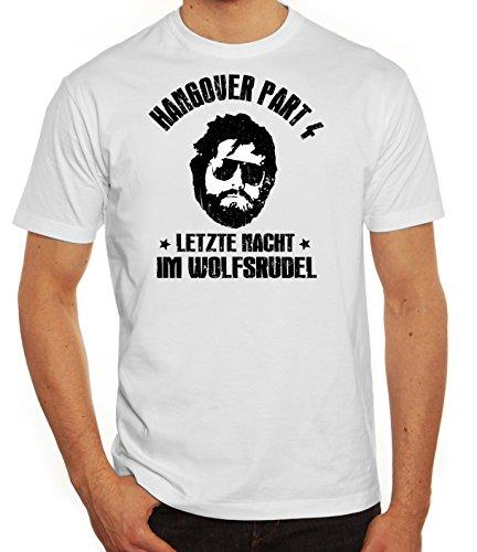Junggesellenabschied JGA Gruppen Herren Männer T-Shirt Rundhals Hangover 4 - Letzte Nacht im Wolfsrudel, Größe: L,weiß