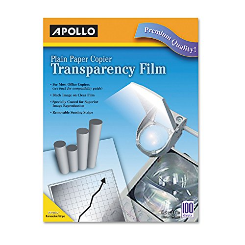 Apollo PP201C Plain Paper B/W Laser Transparency Film w/Handling Strip, Letter, Clear, 100/Box