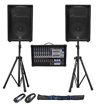 """(2) JBL Pro JRX212 12"""" 2000w PA/DJ Speakers+Powered 12-Channel Mixer+Stands by JBL"""