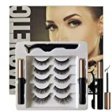 ROLANGINA Magnetic Eyeliner and Lashes Magnetic Eyelashes Kit with Tweezers.No Glue Reusable Silk False Lashes, Easier To Use Than Traditional eyelashes magnetic eyeliner. [5 Pairs]