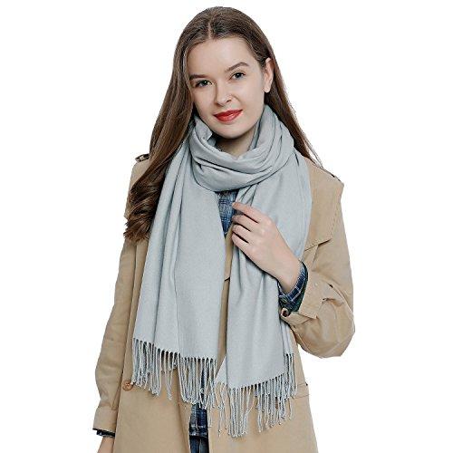 DonDon Damen Schal einfarbig weich 185 x 65 cm hellgrau