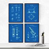 Nacnic Azul - Pack de 4 Láminas con Patentes de Farmacia. Set de Posters con inventos y Patentes Antiguas. Elije el Color Que Más te guste.