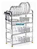WINSTAR Stainless Steel 4 Shelf Wall Mount Kitchen Racks | Dish Rack with Cutlery and Plate Kitchen Stand | Modular Kitchen Bartan Stand | Kitchen Organizer Items (18x24 inches)