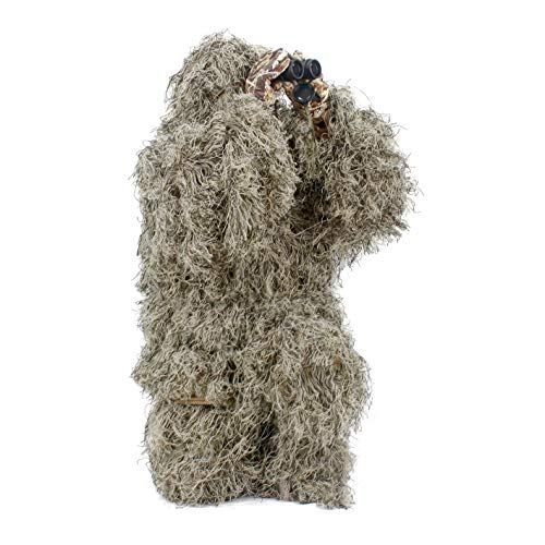 Auscamotek Ghillie Suit Hunting Gilly for Halloween Costume Airsoft Paintball - Youth Dry Grass