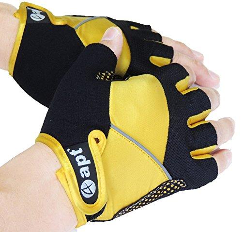 apt' (エーピーティー) サイクルグローブ 夏用指切り自転車用手袋 apt'-G-02 (イエロー, (S=21cm-22cm))