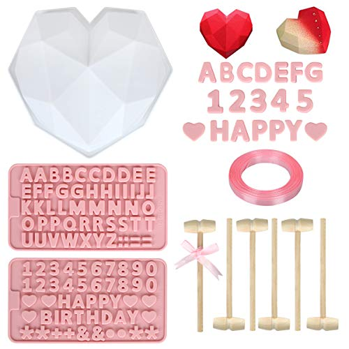 10 Pieces Diamond Silicone Cake Mold Trays Breakable Heart Baking Pan Mousse Mould, Wooden Crab Mallet Lobster Hammers Toy and Letter Number Candy Chocolate Mold for Valentine Home Kitchen DIY Baking