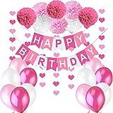 """Décoration Anniversaire Fille Deco - 1 Banderole Bannière Joyeux Anniversaire """"Happy Birthday"""" + 8 Pompon Fleur + 6 metres Guirlande Coeur + 12 Ballons 30 cm Rose Blanc Fuchsia"""