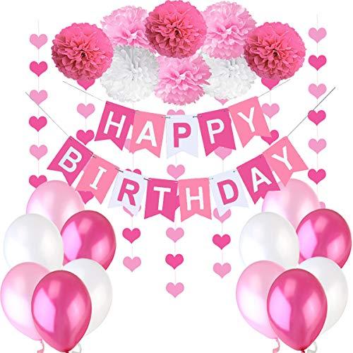 Jonami Geburtstagsdeko Mädchen, Kindergeburtstag Deko Rosa, Geburtstag Dekoration Set. Happy Birthday Wimpelgirlande,8 Blumenpuscheln,6 Meter Girlande mit Herz, 12 Ballons Rosa Weiß Pink