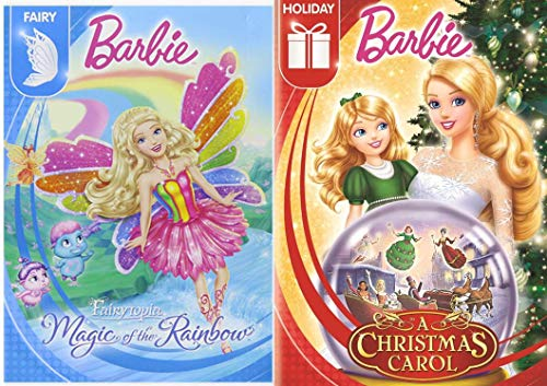 Fairy Holiday Barbie A Christmas Carol Classic Fairytale Story + Fairytopia Magic of the Rainbow 2 Princess Pack Girls Fun Cartoon DVD Double Feature