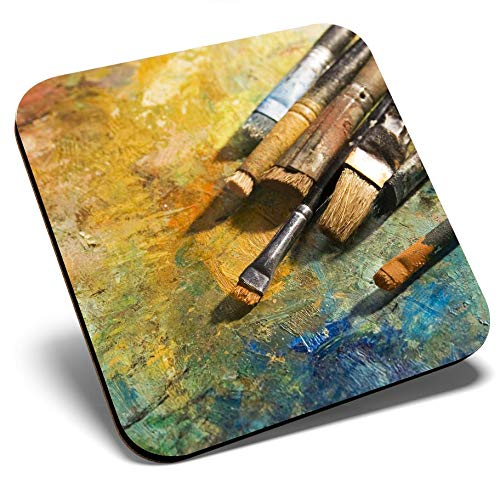 Gran posavasos cuadrado – Pinceles de pintura frescos pintor | Posavasos de calidad brillante | Protección de mesa para cualquier tipo de mesa #14186