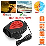 Upgrade Portable Car Heater, 2 in 1 12V 150W Plug in Car Heater Windshield Defogger Heater & Cooling Fan, 30s Fast Auto Heater Cooling Fan,180 Degree Whirling/Low Noise