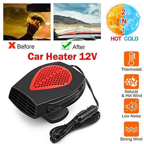 Low Energy Consumption CHABAO 12v Portable Car Heater Fan Cooler Defrost Defogger,Automatic Heating Low Noise