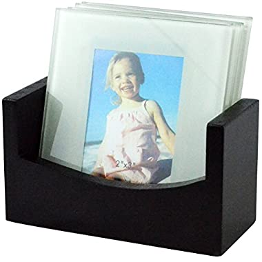 Southern Homewares Set of 4 Glass Photo Frame Coasters + Wood Storage Rack Tray - Memories