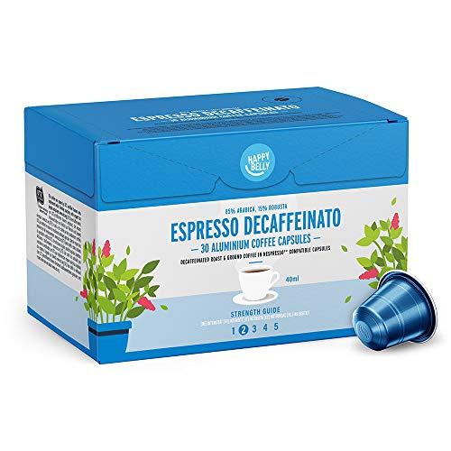 Marca Amazon - Happy Belly Espresso Decaffeinato- Café molido de tueste natural descafeinado en cápsulas en aluminio compatibles con Nespresso, 120 cápsulas (4x30)