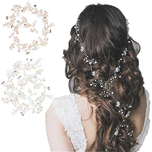 Haarband,Kristall Perle Haarband,Braut Hochzeit Stirnband,Haarschmuck Hochzeit,Weise Retro Elegante Damen Perlenrhinestone Haarclip,Hochzeitskleid Zubehör Haarband (2...