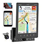 Double Din 9.5 Inch Vertical Car Stereo Compatible with Apple CarPlay Support GPS Navigation Bluetooth Car Audio Radio with Backup Camera FM/USB/TF/Auxiliary Input MP5 SWC Mirror Link for Android/iOS