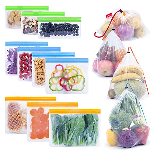 ANRUI 10pcs ZipLock Food and Sandwich Storage Bags Leakproof Reusable Freezer Bags for Lunch, Snacks and Travel, 4 pcs Environmental Mesh Storage Bags for Market Shopping