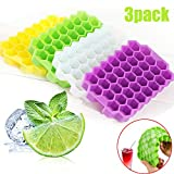 WOGQX Ice Cube Trays 3 Pack, 37 Grid Honeycomb Silicone Ice Cube Maker Mold for Ice Cream 3D DIY Party Wine Whiskey Cocktail Cold Drink Tool,White,with Cover