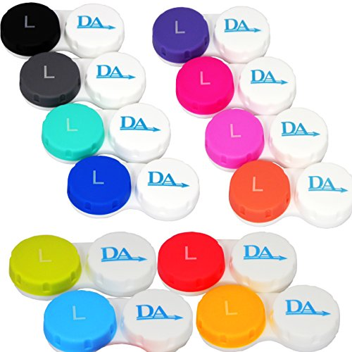 12 x Contact Lens Cases ~ Colour Coded L&R (Pinks, Blues & Classic Colours)